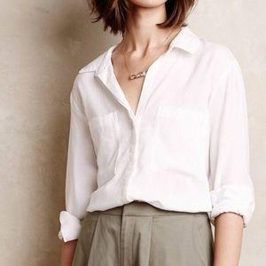 Cloth & Stone White Split Back Button Down Shirt